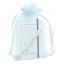 Cahier de baptême personnalisé avec stylo assorti