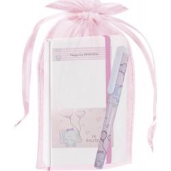 Cahier éléphant personnalisé avec stylo et sac de baptême...