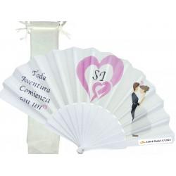 Eventail personnalisé pour mariages avec sac en organza