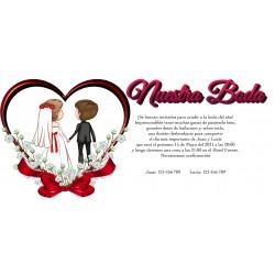 Invitation de mariage personnalisée avec les mariés
