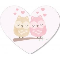 Sticker coeur de hiboux de couple
