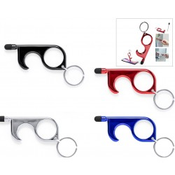 Porte-clés hygiénique anti-contact avec stylo et pointeur...