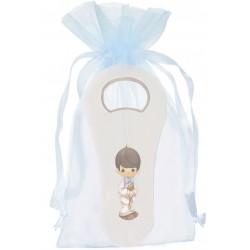 Décapsuleur blanc pour communion dans un sac en organza