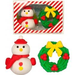 Lot original de 2 gommes de Noël