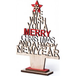 Sapin de Noël en bois avec message découpé