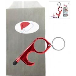 Anti Covid-19 Porte-clés hygiénique Noël rouge