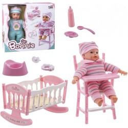 Poupée Bonnie avec chaise haute, lit accessoire et son