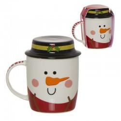 Tasse en céramique avec couvercle et motif bonhomme de neige