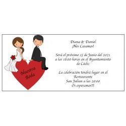 Invitation de mariage coeur de marié