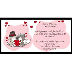 Invitation de mariage de chats