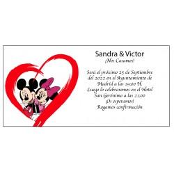 Invitations de mariage Mickey et Minnie