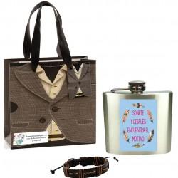 Cadeau pour homme, bracelet, flacon et sac