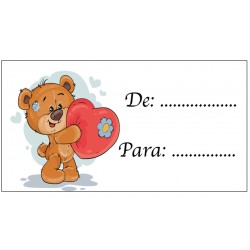 Carte collante pour cadeaux Ours coeur pour mettre des noms