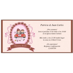 Invitations de mariage mariés en voiture