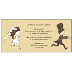 Invitations de mariage drôles avec des mariés en cours...