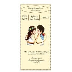 Invitation de mariage jeune mariée et le marié