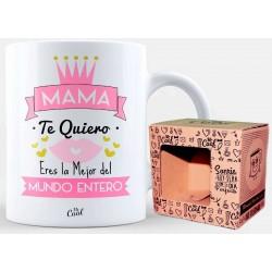 Mug avec phrase pour maman en blanc présenté dans une boîte