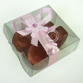 Cadeau invites bapteme boite tranparente