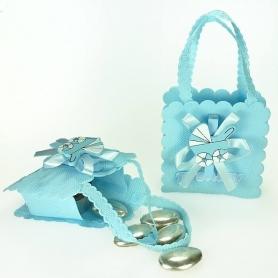 Pochette cadeaux pas cher bapteme bleu
