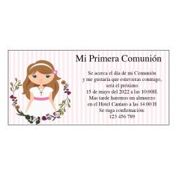 Invitations personnalisées de communion de fille