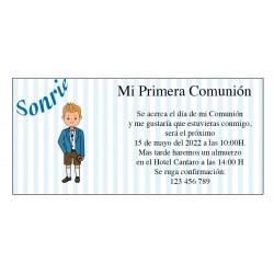Invitation de communion de garçon personnalisée