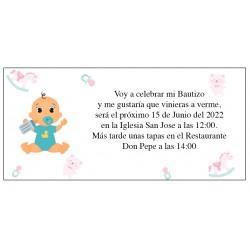 Invitation de baptême personnalisée garçon bébé Alex