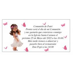 Invitation de communion Patri Girl avec des papillons