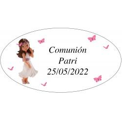 Autocollant ovale Communion Girl Patri
