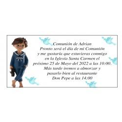 Invitation à la première communion garçon Adrian