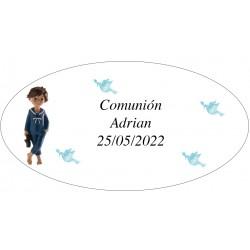 Autocollant Ovale Garçon Première Communion Adrian