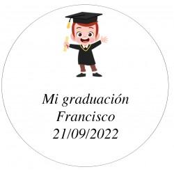 Autocollant 5 cm Personnalisé Graduation Enfant