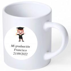 Tasse de graduation souvenir avec autocollant personnalisé