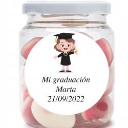 Pot de souvenir de graduation personnalisé avec bisous...
