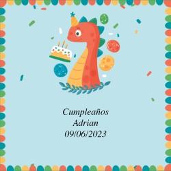 Sticker anniversaire Dinosaure Design 5 x 5 cm