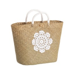Panier-mini crochet en fibres naturelles 43 x 13 x 27 cm