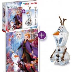 Ensemble amusant puzzle et figurine assemblée 3D Frozen II