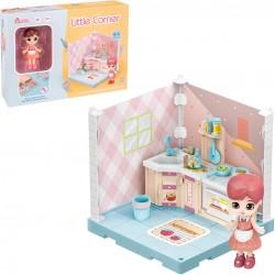 Petite armoire de cuisine d'angle pour poupée de collection