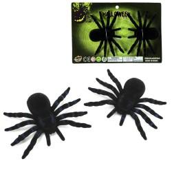 S/2 araignée plastique floquée noire 10 x 7 cm