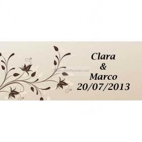 Etiquette Autocollante Cadeau Personnalise Fleur Marron