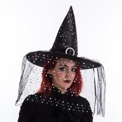 Chapeau de sorcière noir à pois 45 x 45 x 36 cm