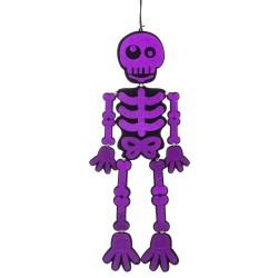 Squelette violet pailleté polyester 25 x 0,30 x 82 cm