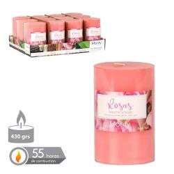 Bougie cylindrique parfumée rose 7.50 x 12 cm