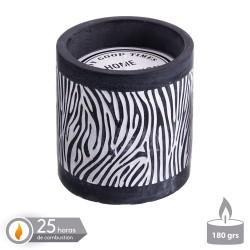 Bougie à base de ciment parfumée Zèbre 10 x 10 cm
