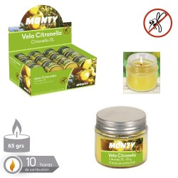 Bougie 3% citronnelle couvercle bocal verre 6,20 x 5,60 cm