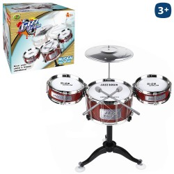Batterie 3 timbales 1 cymbale 2 baguettes 52 x 60 cm