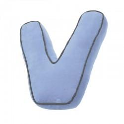 Coussin bleu en forme de lettre v