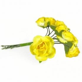 Fleur en Papier Jaune et Blanc