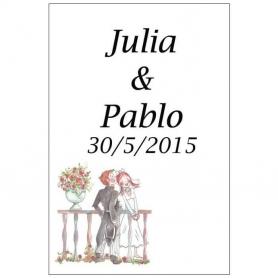 Etiquettes de Mariage pour Bouteilles Romeo et Juliette