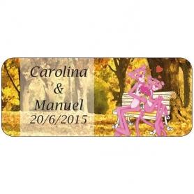 Etiquettes Autocollantes Personnalisées pour Mariage Panthere Rose