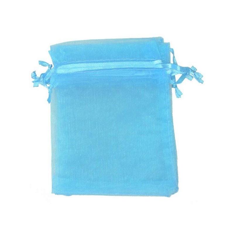Pochette cadeau organza turquoise